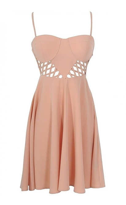 Bustier Lattice Cutout Designer Dress in Salmon