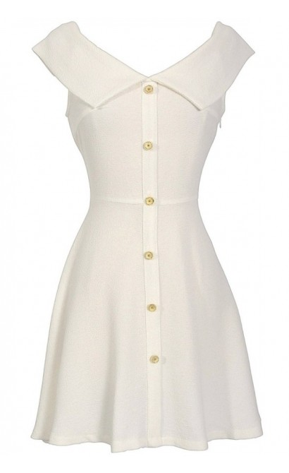 Boucle Sailor Collar Dress in Ivory
