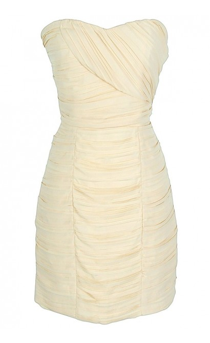Pleated Chiffon Strapless Dress in Cream