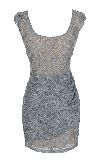 Morning Mist Lace Bodycon Dress in Light Blue