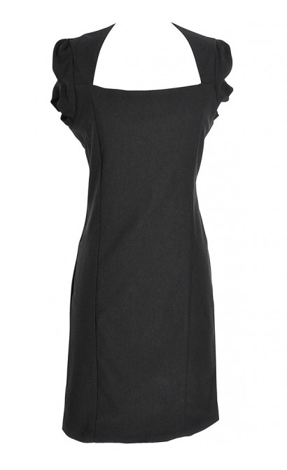 Square Neck Modest Pencil Dress in Black