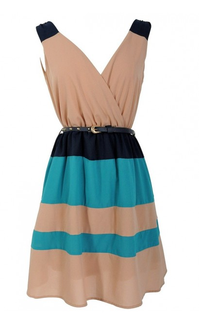 Beachcomber Teal and Beige Colorblock Belted Stripe Dress