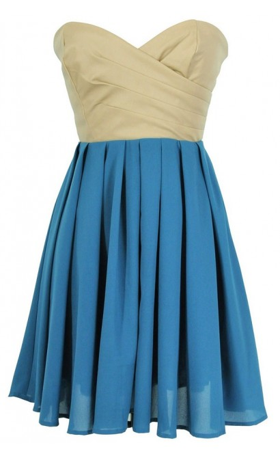 Leatherette and Chiffon Strapless Dress in Teal/Beige