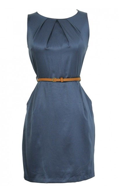 Classic Belted Sheath Dress in Navy