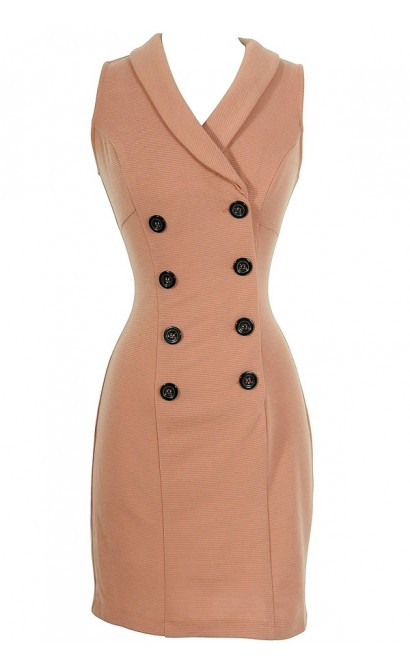 Dusty Rose Textured Crossover Dress With Contrast Buttons