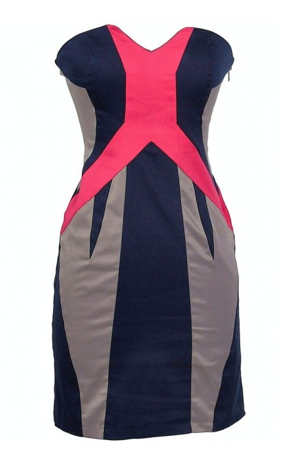 Pink and Navy Colorblock Strapless Designer Dress by Minuet