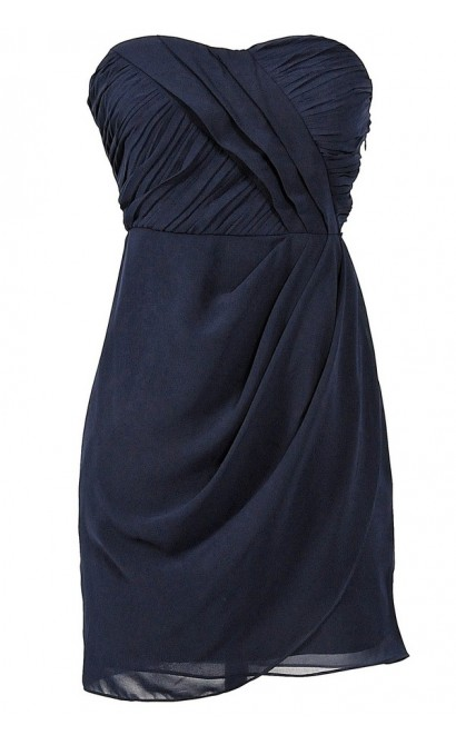 Triple Pleat Chiffon Drape Designer Dress by Minuet in Navy