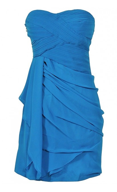 Draped Chiffon Dress in Teal Blue