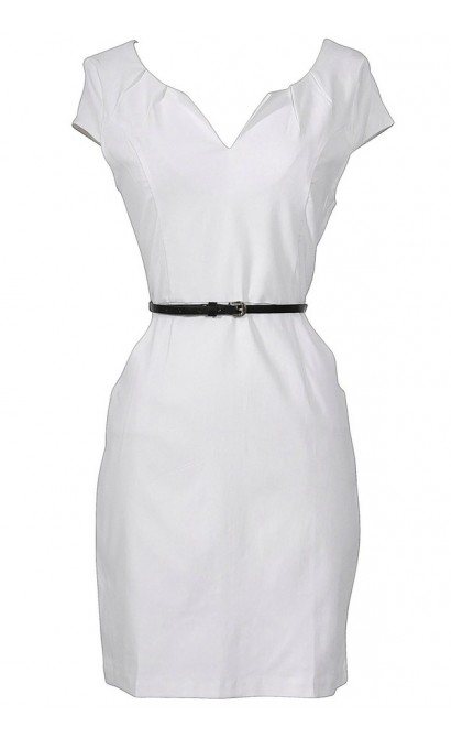 Melinda Belted Pencil Dress in White