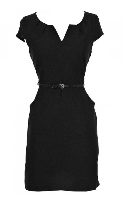 Melinda Belted Pencil Dress in Black
