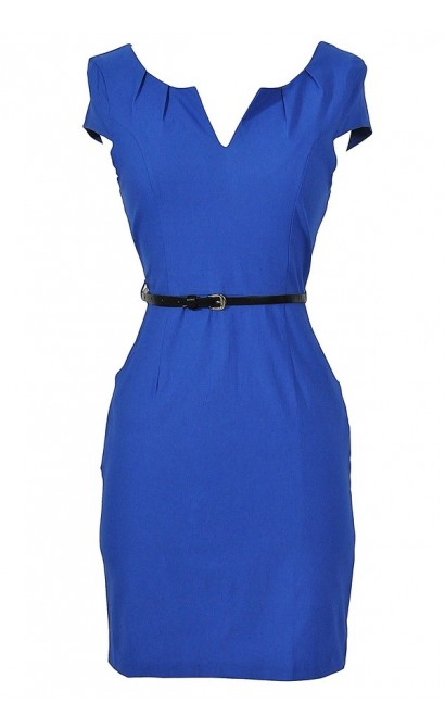 Melinda Belted Pencil Dress in Blue