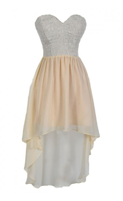 Ray of Light Strapless High Low Designer Dress in Cream