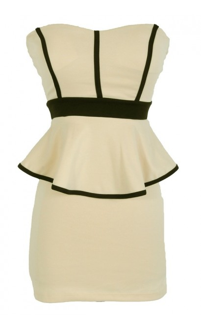 Sophia Black and Cream Peplum Pencil Dress