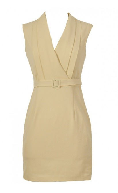 Day At The Museum Designer Belted Dress in Beige