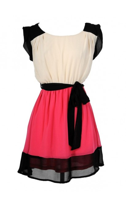 Colorblock Hot Pink and Black Chiffon Dress