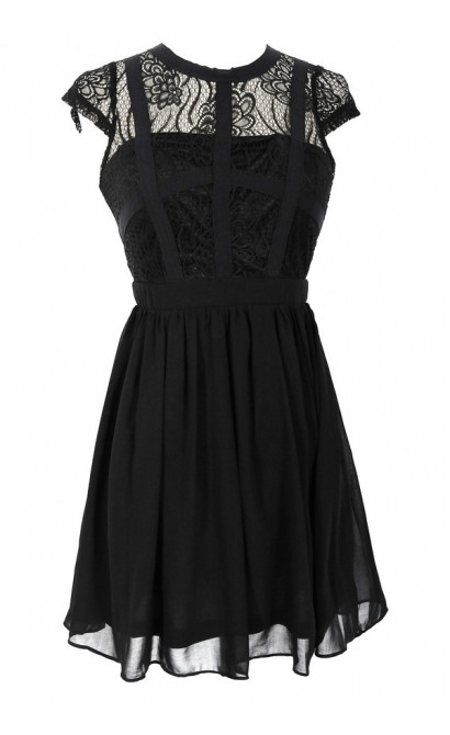 Capsleeve Lace Top Dress With Contrast Ribbon Overlay In Black Lily