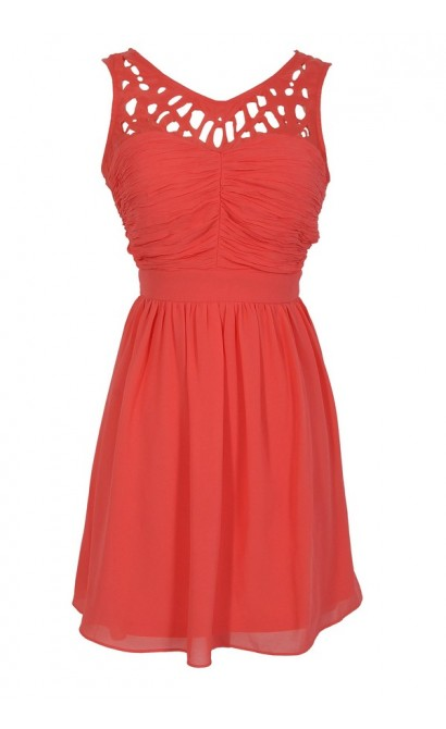 Laser Cut Chiffon Dress in Coral