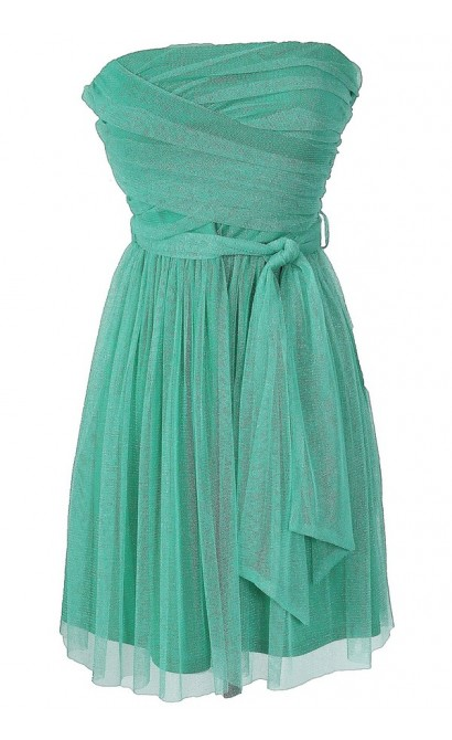 Mermaid Sparkle Strapless Dress in Green