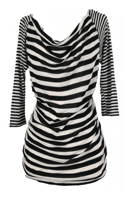 Krista Stripe Top in Ivory/Black