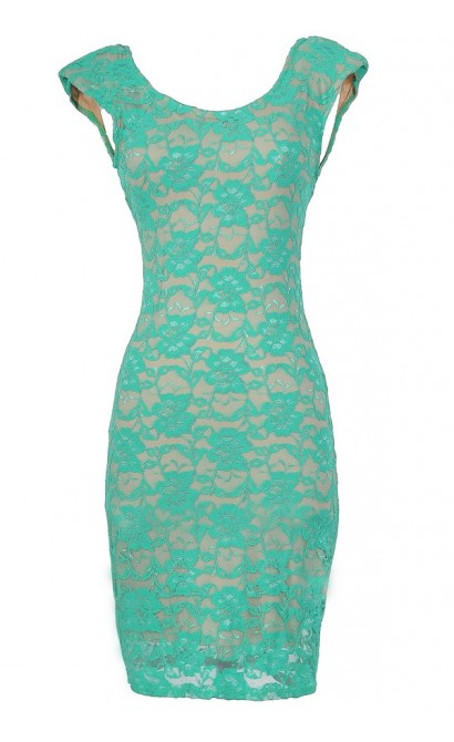 Fitted Contrast Lace Padded Shoulder Dress In Jade/Nude
