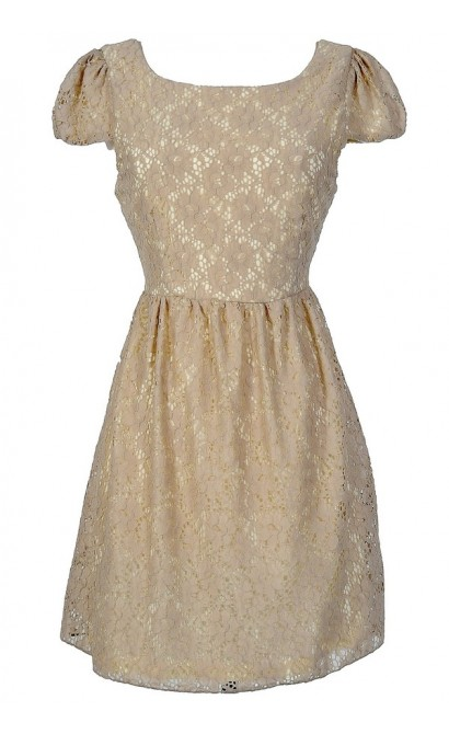 Give Me A Reason Capsleeve Floral Lace Dress in Beige