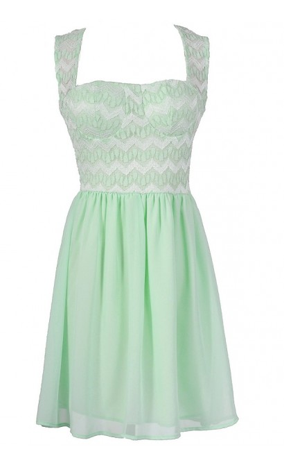 Chevron Pattern Bustier Dress in Mint