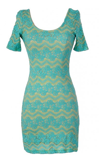 Summer Nights Floral and Chevron Bodycon Dress in Aqua
