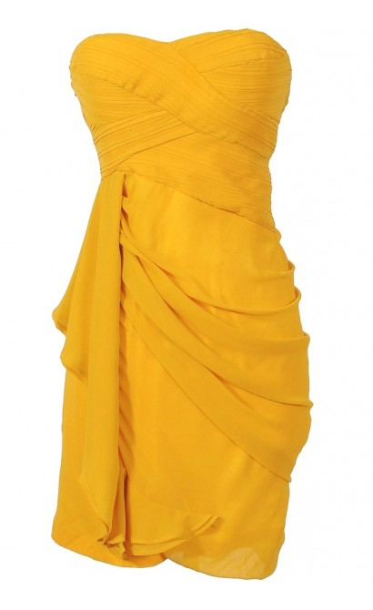 Draped Chiffon Dress in Marigold