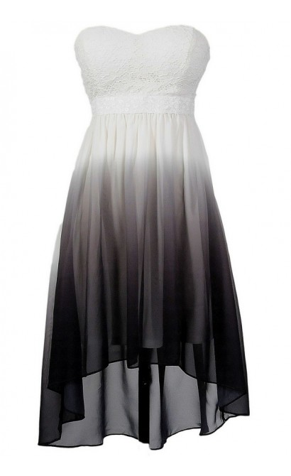Grey and White Ombre High Low Dress