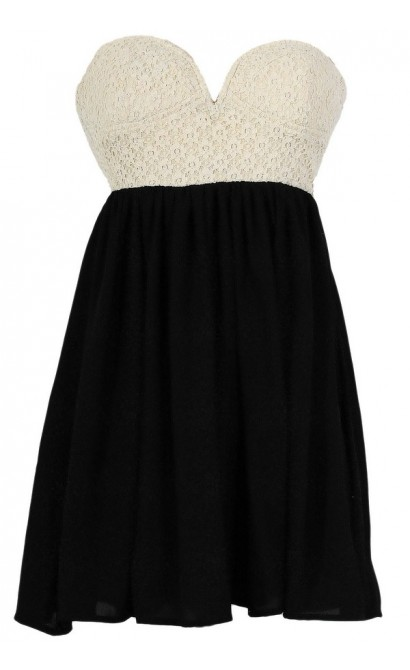 Sonya Flirty Lace and Chiffon Dress in Ivory/Black