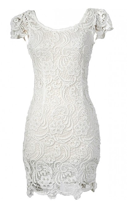 Nila Crochet Lace Capsleeve Pencil Dress in White
