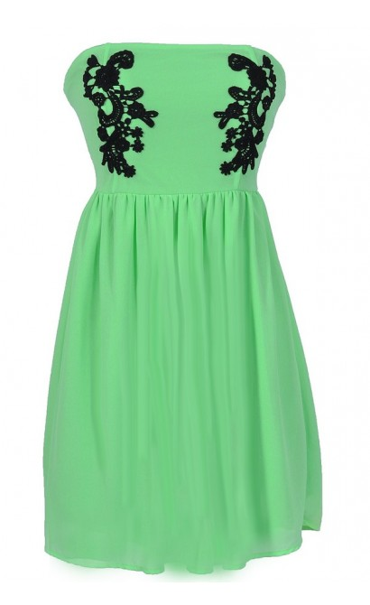 Samantha Black Crochet Applique Strapless Dress in Bright Green