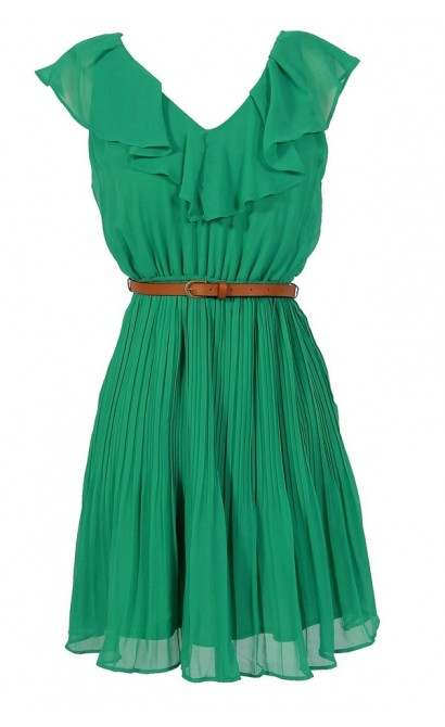 Katrina Ruffle Contrast Belted Dress in Jade