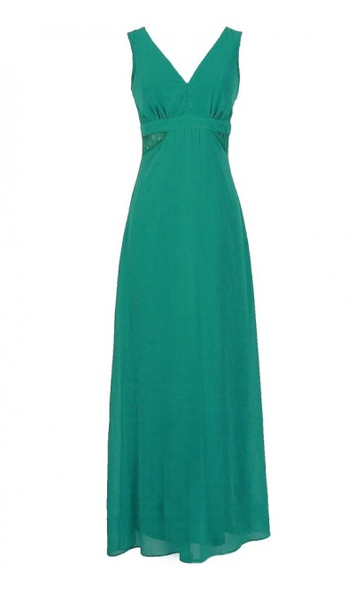 Last Night Chiffon Maxi Dress With Lace Insets in Jade