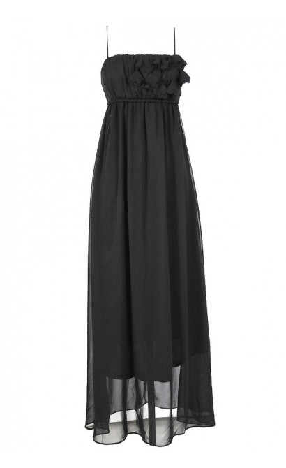 Petal Applique Chiffon Maxi Dress in Black