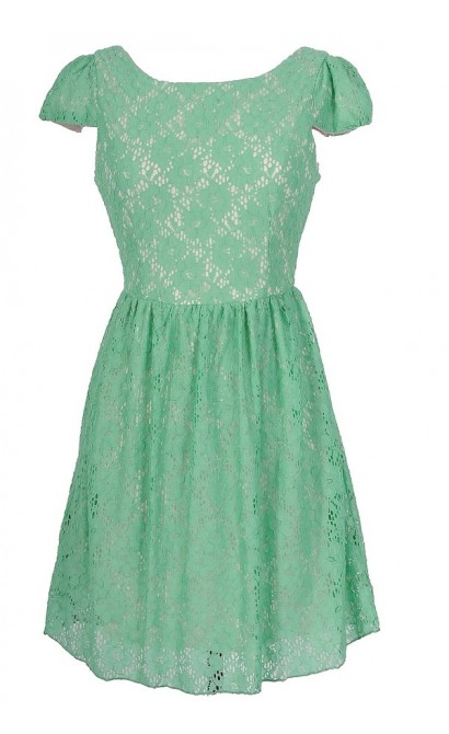Give Me A Reason Capsleeve Floral Lace Dress in Mint