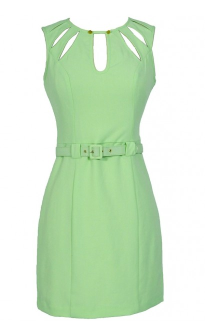 Key Lime Cutout Belted Designer Sheath Dress