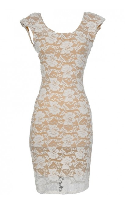 Fitted Contrast Lace Padded Shoulder Dress In Ivory/Nude