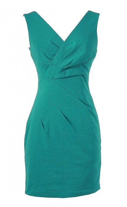 Rachel Teal Crossover Pencil Dress by Ark and Co