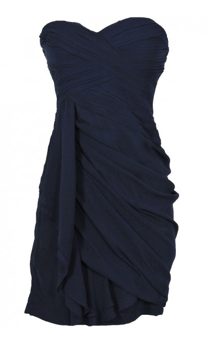 Dreaming of You Chiffon Drape Party Dress in Navy by Minuet