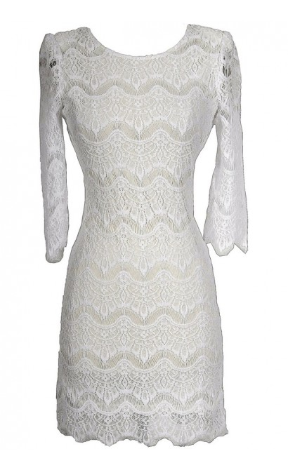 Vintage-Inspired Lace Overlay Dress in White
