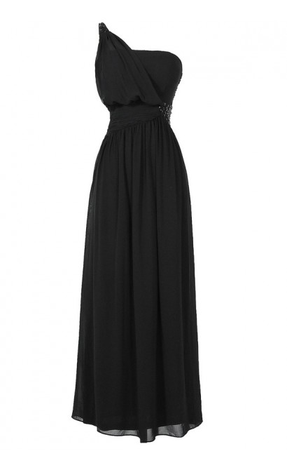 One Shoulder Embellished Maxi Dress in Black