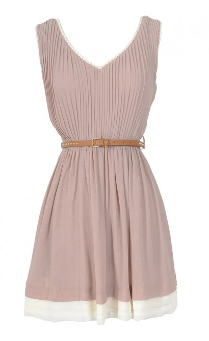 Music Row Belted Chiffon Dress in Dusty Pink