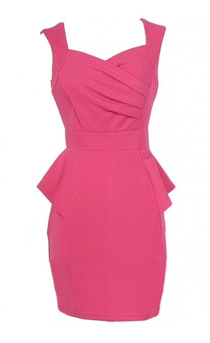 Network The Room Matelasse Peplum Dress in Hot Pink