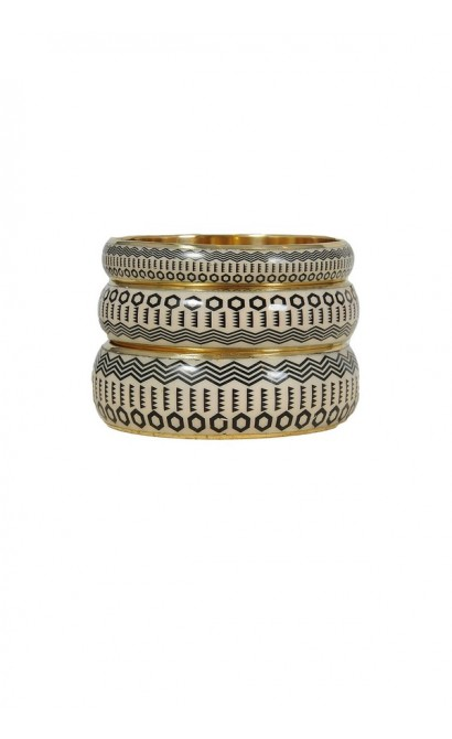 Ivory and Black Onyx Tribal Cuff Bracelets