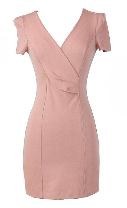 Crossing Over Sheath Dress in Blush