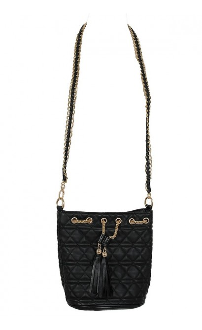 Black and Gold Chain Link Quilted Crossover Leatherette Tote Bag