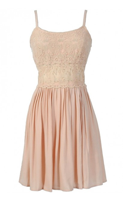 Peace and Love Crochet Floral Lace Dress in Pale Pink