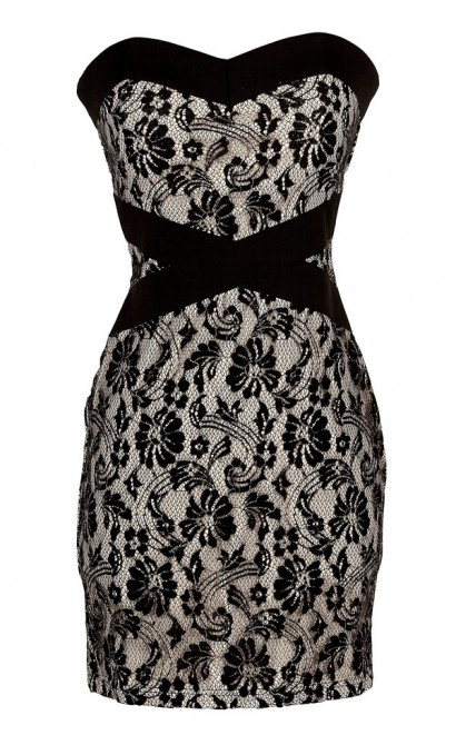 X Marks The Spot Black and Nude Strapless Lace Designer Dress