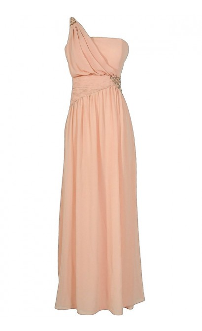 One Shoulder Embellished Maxi Dress in Blush